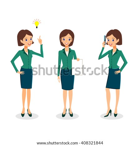 Business woman character vector set. Cheerful business woman character. Creative thinking and office life concept. Woman career collection isolated on white background - stock vector