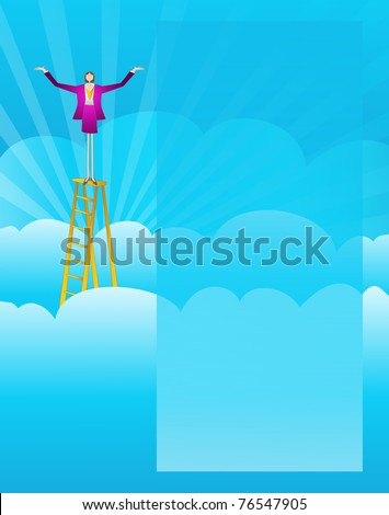 Business woman climbs the ladder of success and stand on top with arms extended in victory. - stock vector