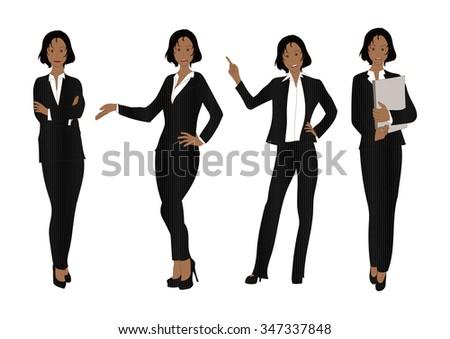 Business Woman Color Full Body Black Illustration - stock vector