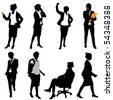 business woman (different positions) - stock photo