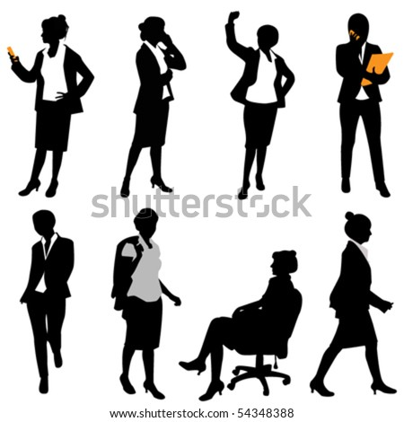 business woman (different positions) - stock vector