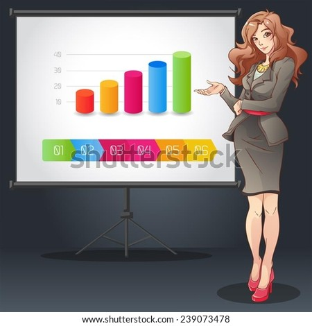 Business woman doing presentation with graph and background vector illuistration - stock vector