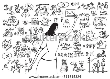Business woman doodles presentation. Young businesswomen drawing graph. Monochrome hand drawn vector illustration. EPS8