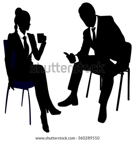 business woman drinking coffee or tea while business man using smart phone