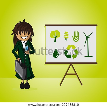 Business woman ecology presentation on whiteboard and environment icons. EPS10 vector file organized in layers for easy editing. - stock vector
