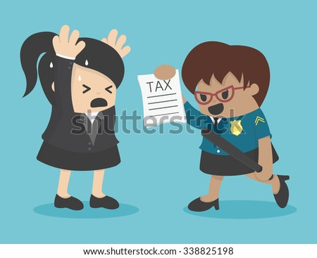 business woman evasion tax - stock vector