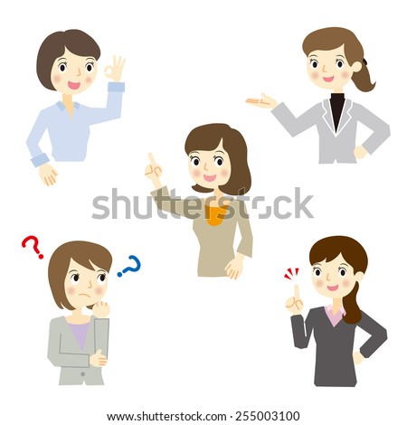 Business woman expression set  - stock vector
