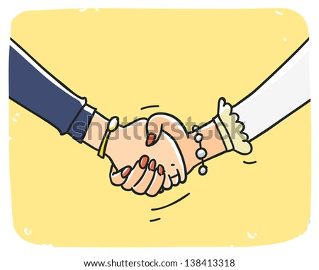 Business woman handshake. Cartoon illustration isolated on background - stock vector