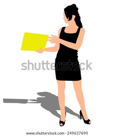 Business woman holding folder, vector  - stock vector