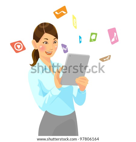 Business woman holding tablet pc - stock vector