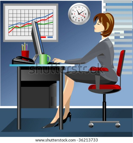 Business woman in office working on computer - stock vector