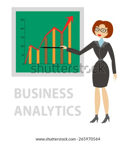 Business woman in suit shows on the board at the graph of profit growth - stock vector