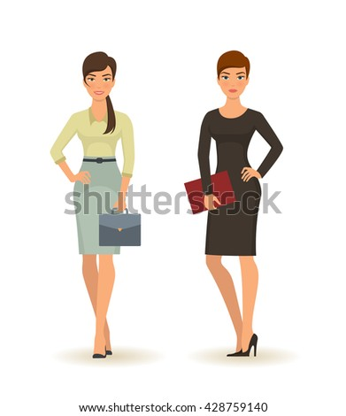 Business woman in various poses. Successful young businesswomen in office clothes isolated on white background - stock vector
