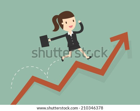 business woman jump over growing chart - stock vector
