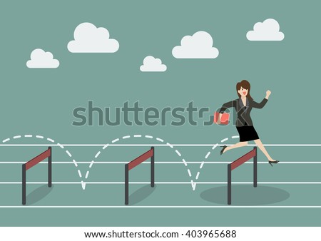Business woman jumping over hurdle. Business concept - stock vector