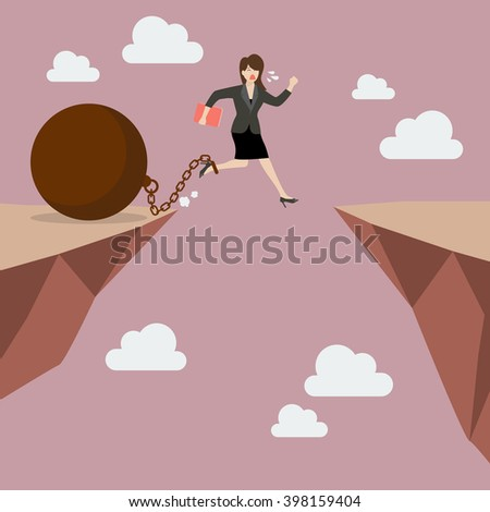 Business woman jumps the abyss with the weight. Business concept - stock vector
