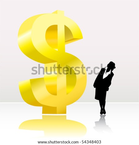 business woman looking big dollar sign - stock vector