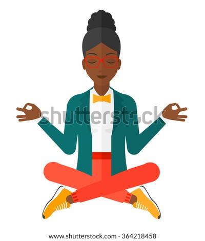 Business woman meditating in lotus pose. - stock vector