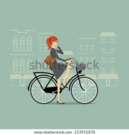 Business woman on a bicycle talking on the phone - stock vector