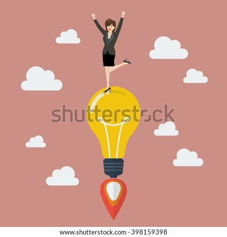 Business woman on a lightbulb idea rocket. Vector Project start up new business. - stock vector