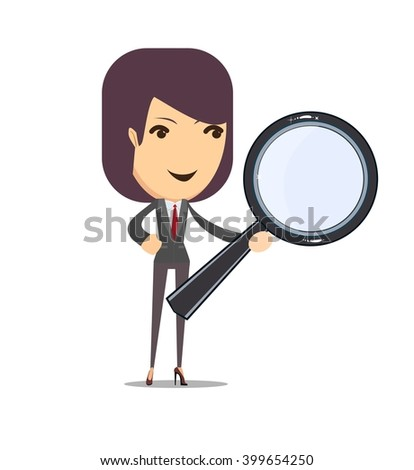 Business woman on a white background with a magnifier to find, vector illustration - stock vector