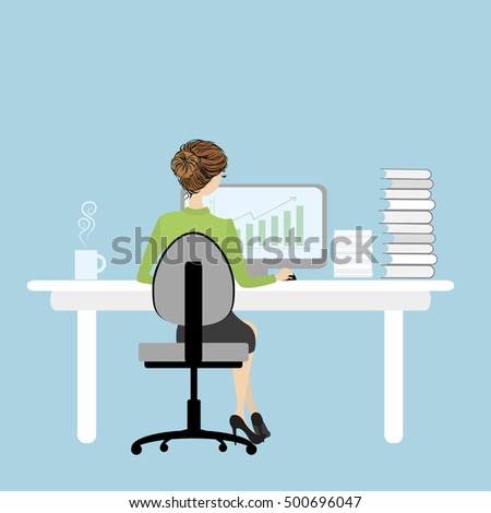 Business Woman or office worker  working on computer , Back Rear View, Flat Vector Illustration