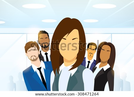 Business Woman People Group Leader Diverse Team Vector Illustration - stock vector
