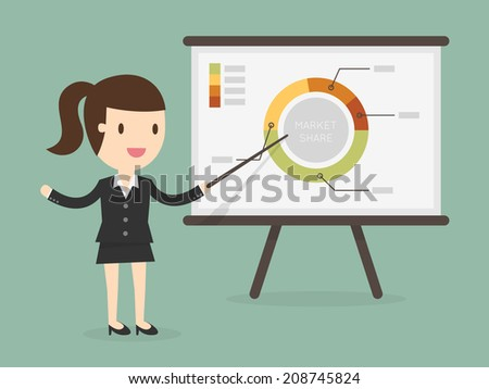 business woman pointing at a chart board