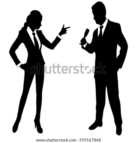 business woman pointing at business man - stock vector