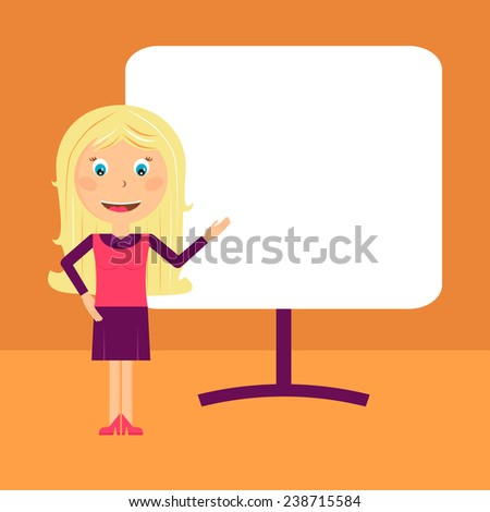 Business woman pointing to rising business trends Vector Illustration - stock vector