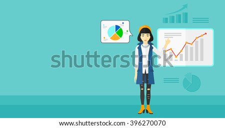 Business woman presenting report. - stock vector