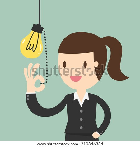 Business woman pulling light switch, Idea concept - stock vector