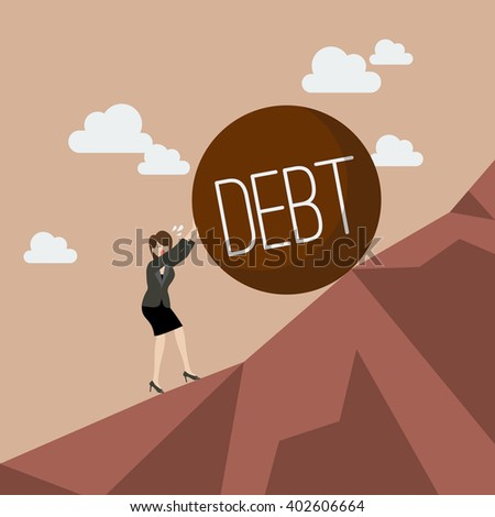 Business woman pushing heavy debt uphill. Business concept - stock vector