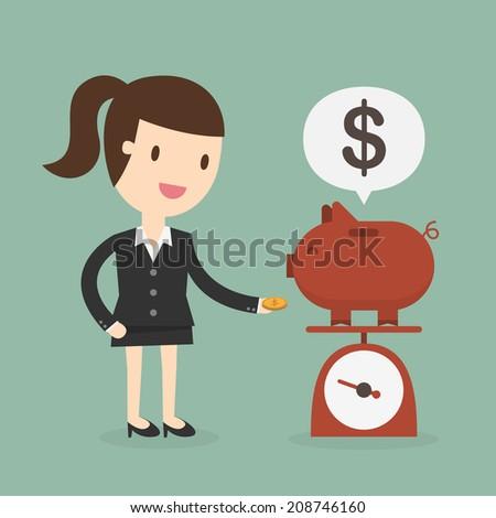 Business woman saving money in a piggy bank - stock vector