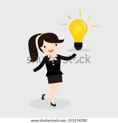 Business woman serve an idea on holding tray vector