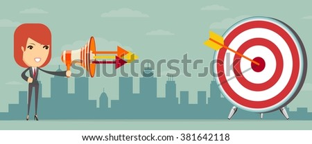 Business woman shooting target from megaphone. Vector illustration  - stock vector