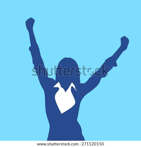 Business Woman Silhouette Excited Hold Hands Up Raised Arms, Businesswoman Concept Winner Success Vector Illustration - stock vector