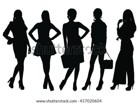 Fashion Model Silhouettes Stock Vector 438396706 ...