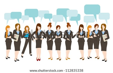 business woman speech bubble - stock vector