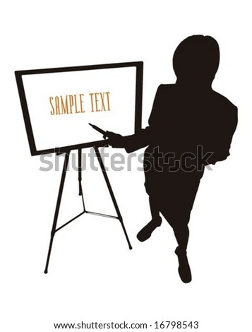 business woman standing at white board and doing a presentation - stock vector