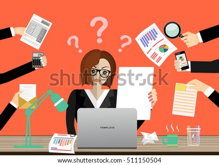 Business woman surrounded by hands with office things.