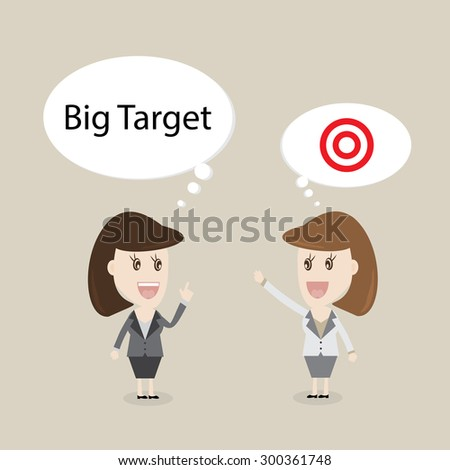 Business Woman Talking About Big Target In BubbleVector