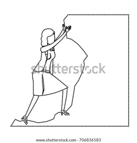 business woman trying to climb to the top of stone monochrome silhouette dotted vector illustration