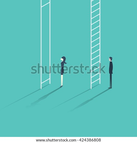Business woman versus man corporate ladder career concept vector illustration. Gender inequality issue with different opportunities for males and females. Eps10 vector illustration. - stock vector