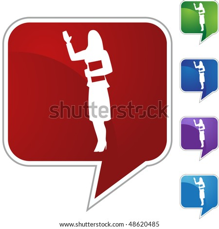Business woman waving web button isolated on a background.