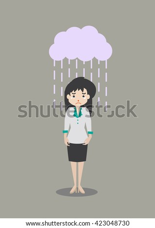 business woman weeping - stock vector