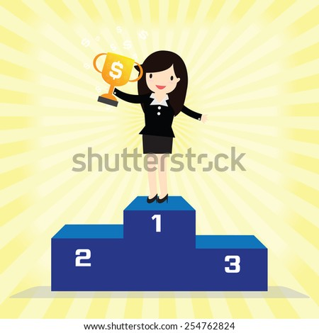 Business woman winner standing in first place on a podium holding up trophy - stock vector