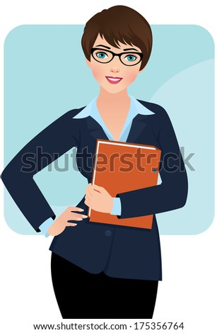 Business woman with a folder for papers/Businesswoman/Illustration a pretty young business woman - stock vector