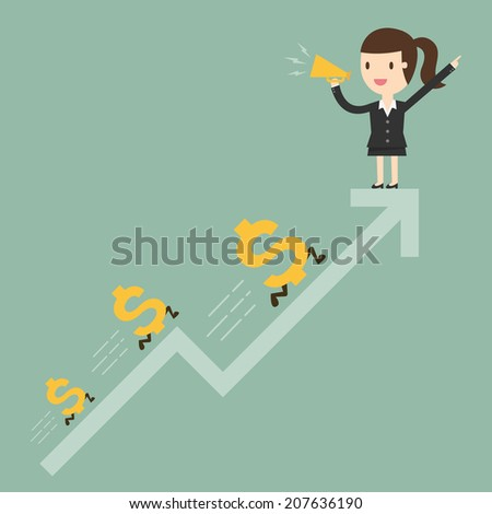 Business woman with graph and dollar signs - stock vector