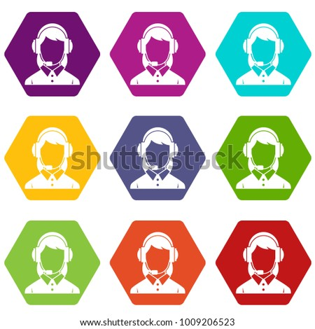 Business woman with headset icon set many color hexahedron isolated on white vector illustration